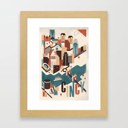 A Day in Downtown Cincy Framed Art Print