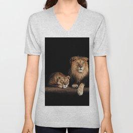 Portrait of Lion Family on dark background - vintage nature photo Unisex V-Neck