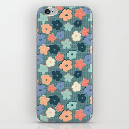 Peach and Aqua Flower Grid iPhone Skin