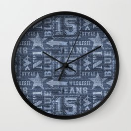 Denim Jeans Typography  Wall Clock
