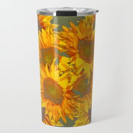 Golden Sunflowers on Putty Color  Art Travel Mug