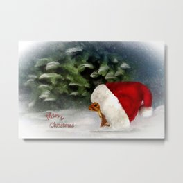 Santa Squirrel Metal Print