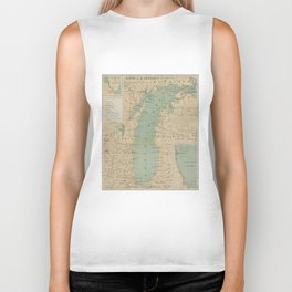 Vintage Lake Michigan Lighthouse Map (1898) Biker Tank