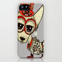 Steampunk Chihuahua gray grey iPhone Case