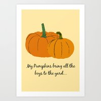 pumpkin Art Prints featuring Pumpkin by Laura Maria Designs