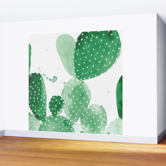 Green Paddle Cactus Wall Mural by theaestate Society6