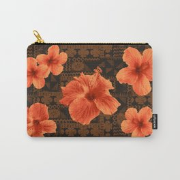Kalalau Tapa Hawaiian Hibiscus Vintage Inspired Print Carry-All Pouch