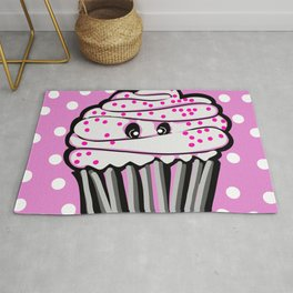 Cute Cupcake In Pink Rug