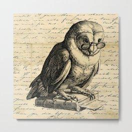The Wise Owl - Vintage Art Metal Print