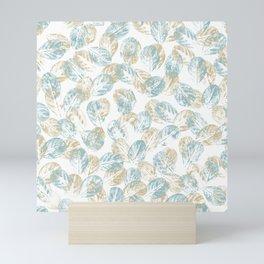 Leaves imprints in blue and beige Mini Art Print