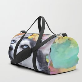 Dreaming Husky Duffle Bag