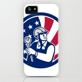 American Engineer USA Flag Icon iPhone Case