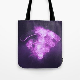 Wi Fi sign. Wi-Fi symbol. Abstract night sky background Tote Bag