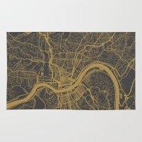 cincinnati Area & Throw Rugs featuring Cincinnati map by Map Map Maps