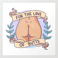 heymonster Art Prints featuring Butts 2 by heymonster