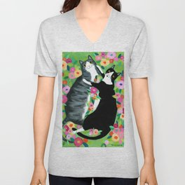 lovebirds CATS in flower garden painting by TASCHA Unisex V-Neck
