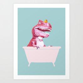 Pink T-Rex in Bathtub Art Print