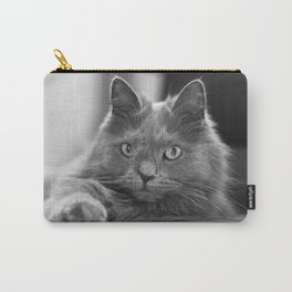 Fluffy Grey Cat Carry-All Pouch