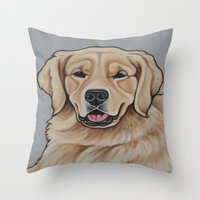 golden retriever Throw Pillows featuring Golden Retriever  by Cheney Beshara
