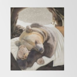 Sweet dreams, Mr Bear Throw Blanket