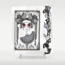 Little monsters and a girl Shower Curtain
