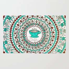 Cafe Expresso Teal, Brown, and White Mandala Rug