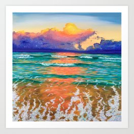 Sunset on the ocean Art Print
