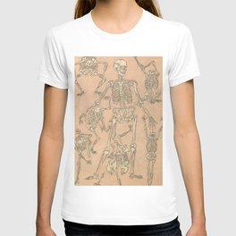 Edo Era Japanese Skeleton Woodblock from Kyosai Sketchbook  T-shirt