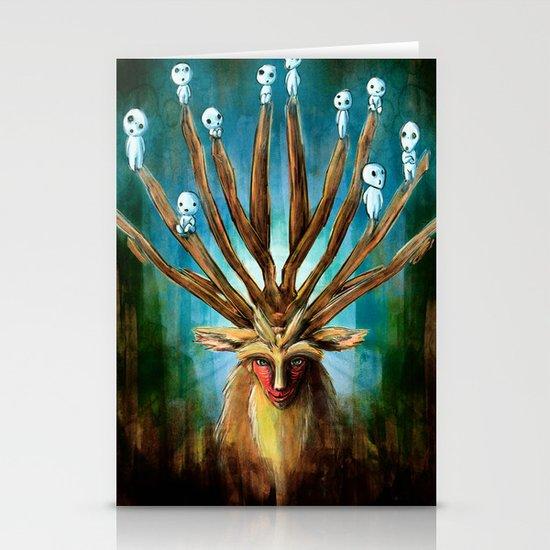 Princess Mononoke The Deer God Shishigami Tra Digital Painting. Stationery Cards