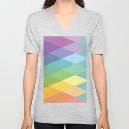 Geometric Rainbow Triangles Unisex V-Neck
