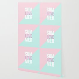 Pastel Candy 'SUMMER LOVE' - Pink & Turquoise Wallpaper