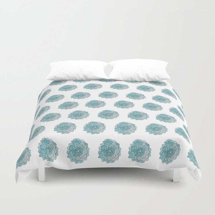 happy blue watercolor flowers Duvet Cover