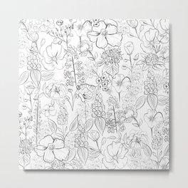 Floral Doodles - B&W Metal Print