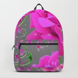 ROMANTIC CERISE PINK ROSE GREY ART RIBBONS Backpack