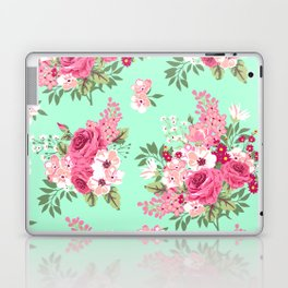 Cottage Chic Roses and Lilacs Floral in Aqua and Pink Laptop & iPad Skin