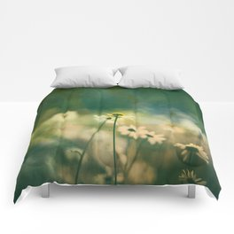 He Loves Me, Daisies Wildflowers Comforters