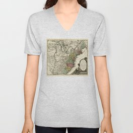 Map of Early America (1778-1783) Unisex V-Neck