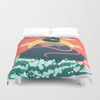 anaconda Duvet Covers featuring Snake On Crystal Mountain by chyworks