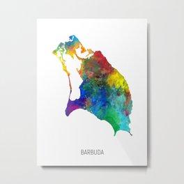 Barbuda Watercolor Map Metal Print