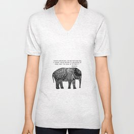 Buddha Quote with Henna Elephant Unisex V-Neck