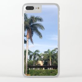 palm trees on a summer afternoon Clear iPhone Case
