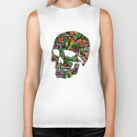 tiki Biker Tanks featuring Tiki Skull by spacecolour