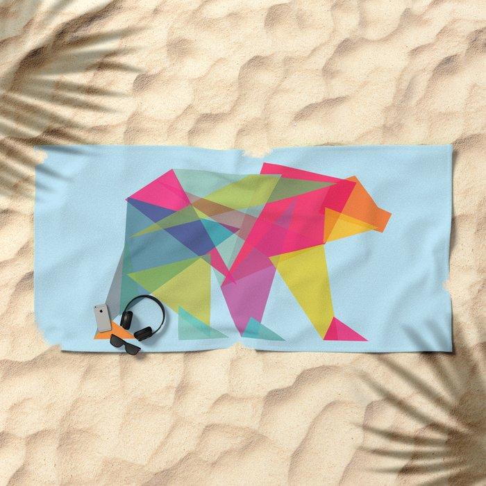 Fractal Bear - neon colorways Beach Towel