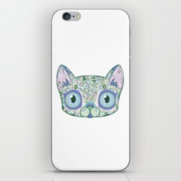 Chromatic Cat III (Green, Blue, Pink) iPhone Skin