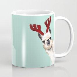 Llama Reindeer in Green Coffee Mug
