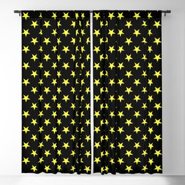 Electric Yellow on Black Stars Blackout Curtain