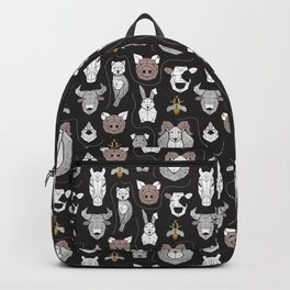 Friendly Geometric Farm Animals // black background black and white brown grey and yellow pigs queen bees lambs cows bulls dogs cats horses chickens and bunnies Backpack