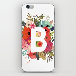 B – Monogrammed Floral Initial iPhone Skin