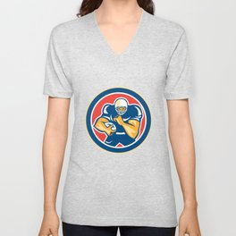 American Football Player Fend Off Circle Retro Unisex V-Neck