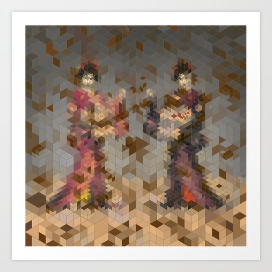 Two Geishas (amongst falling leaves) Art Print